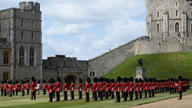 The Guardsmen showed their precision marching skills while maintaining a social distance of just over two metres