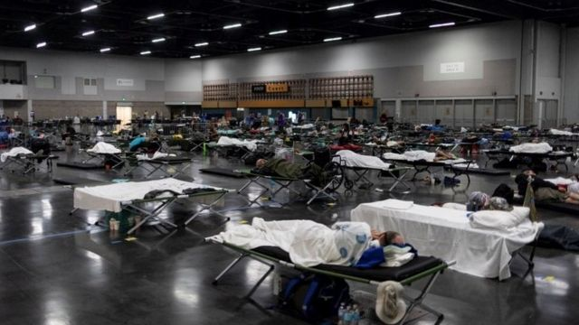 People take shelter in a cooling centre in Portland