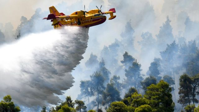 A firefighting plane makes a water drop as a wildfire burns on the island on Sunday